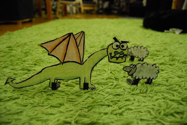 card board dragon