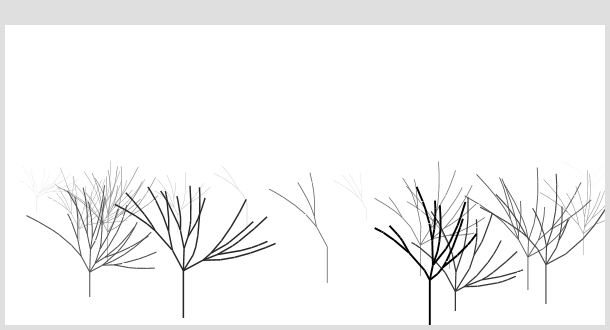 a foogy wood with recursive trees